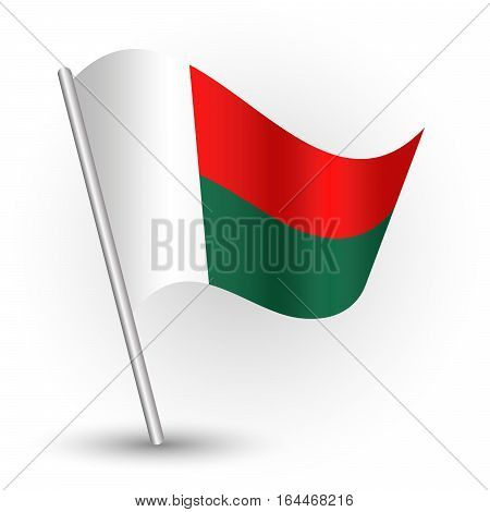 vector waving simple triangle malagasy flag on slanted silver pole - icon republic of madagascar with metal stick
