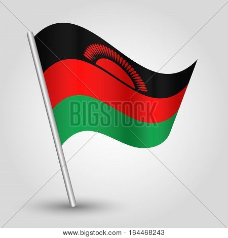 vector waving simple triangle malawian flag on slanted silver pole - icon republic of malawi with metal stick
