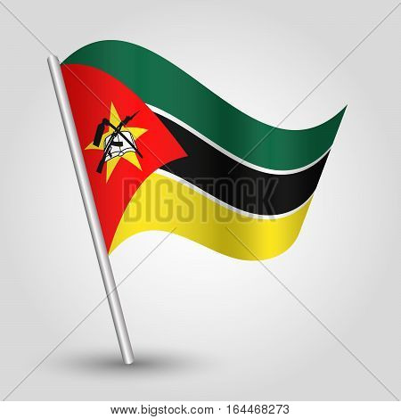 vector waving simple triangle mozambican flag on slanted silver pole - icon republic of mozambique with metal stick