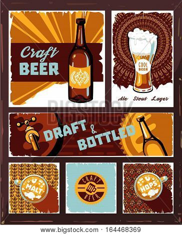 Vintage craft beer banner set vector. Retro draught ale poster, pub, restaurant or bar alcohol beer menu template, brewery web design. Old style craft beer graphic with beer mug and bottle. Beer background illustration. Vintage poster of beer.
