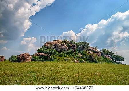 Inselberg or else monadnock amidst African savanna