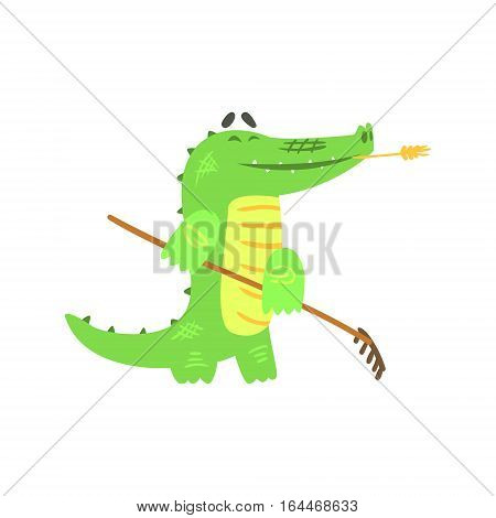 Crocodile Gardening With Rake, Humanized Green Reptile Animal Character Every Day Activity, Part Of Flat Bright Color Isolated Funny Alligator In Different Situation Series Of Illustrations