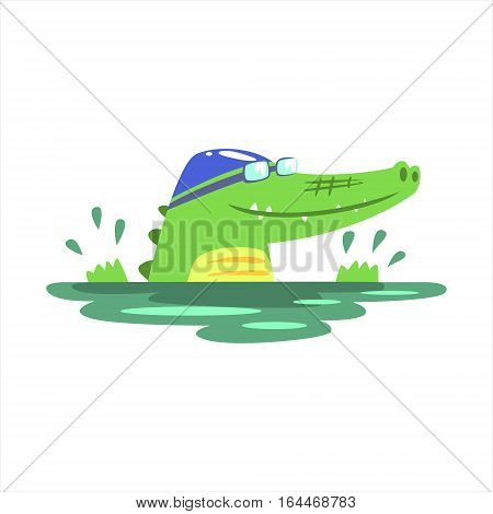 Crocodile Swimming In Pool With Rubber Hat, Humanized Green Reptile Animal Character Every Day Activity, Part Of Flat Bright Color Isolated Funny Alligator In Different Situation Series Of Illustrations