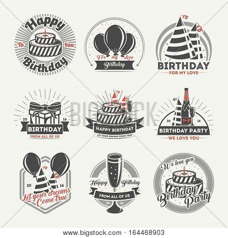 Happy birthday vintage isolated label set vector illustration. Birthday party logos with balloon, holiday cake, gift box and glass of champagne. Happy birthday for my love concept badge collection. Happy birthday and anniversary logo. Happy birhtday