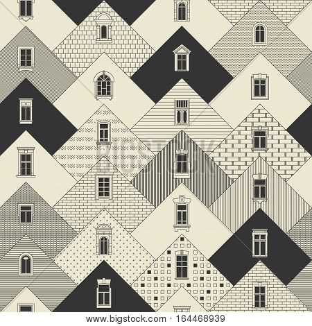 Seamless vector vintage thin line pattern. Stylized triangular facades with different types of hatching with decorative windows.