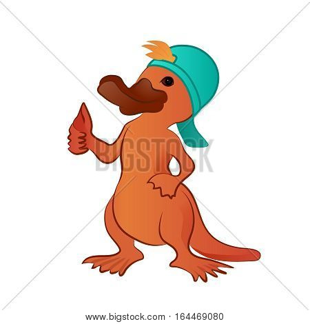 Cartoon platypus thumb up character,  funny vector illustration