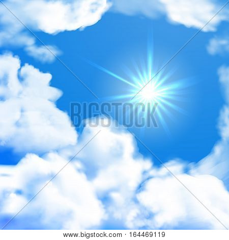 Vector bright sky whit sun and clouds. Summer background