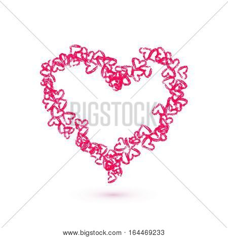 Hand drawn hearts vector illustration. Valentine's day card template
