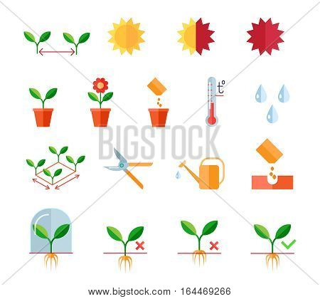 Seedlings and planting flat vector icons set