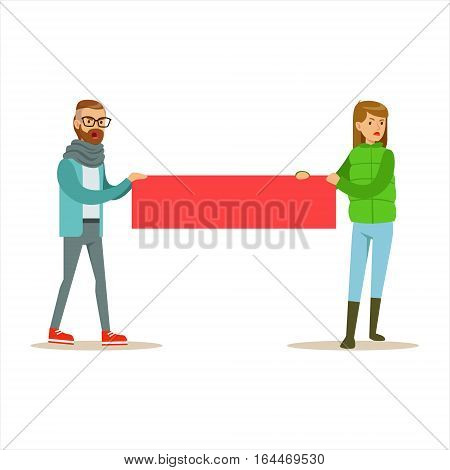 Young Hipster Couple Marching In Protest With Banner, Screaming Angry, Protesting And Demanding Political Freedoms. Citizens On Demonstration Against Establishment Demonstrating Disagreement With Situation.