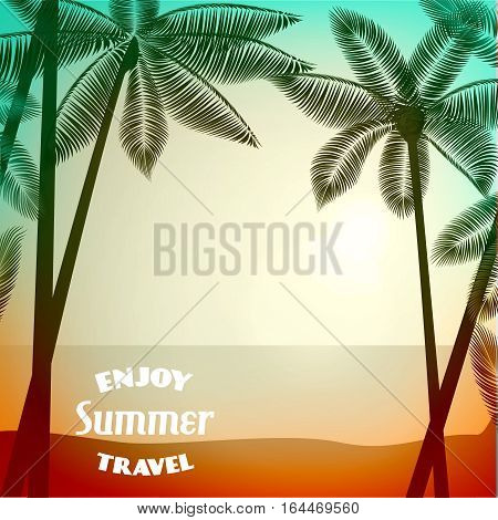 Vector summer poster background with photographic filter effect. Tropical sunrise / sunset with palm trees. Vector illustration