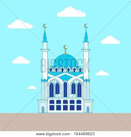 Mosque. Flat design building, poster template. Kul Sharif