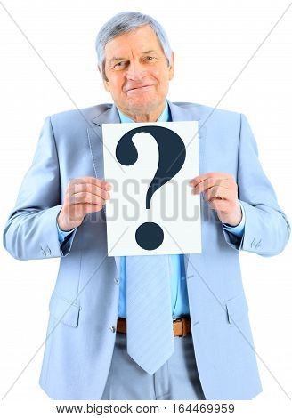 Nice businessman at the age with a question mark. Isolated on a white background.
