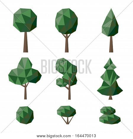 Set polygonal deciduous and coniferous trees and bushes - vector