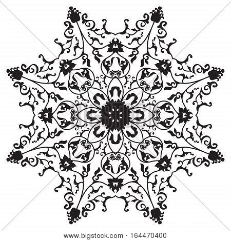 Traditional oriental round ornament mandala, snowflake, abstarct floral design
