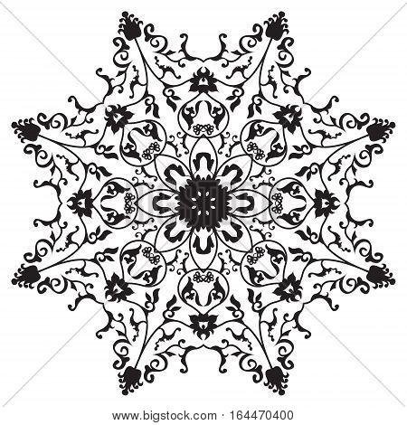 Traditional oriental round ornament mandala, snowflake, abstarct floral design