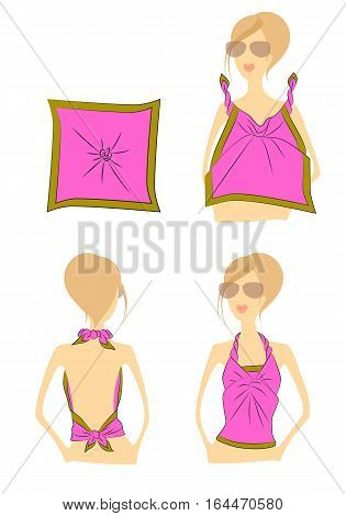 Manual step by step chart tying the handkerchief on the torso woman on white background