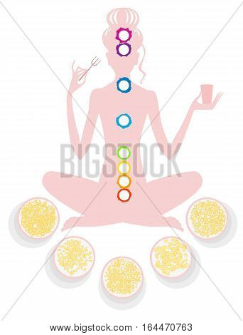 Silhouette of a girl in lotus pose with a fork and a glass in her hand surrounded by plates of food grain on a white background