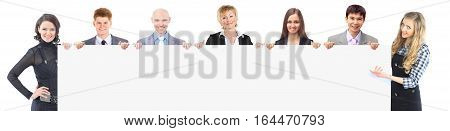 success concept in business - a successful business team holding a large blank banner.the photo has a empty space for your text