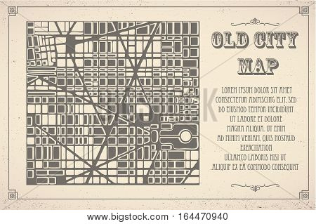 Retro map of the city. Editable vector street map of a fictional generic town. Abstract urban background.