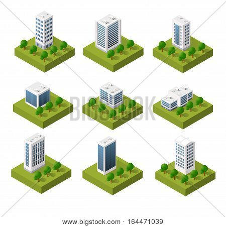 3D isometric city icons with houses and skyscrapers in the three-dimensional projection