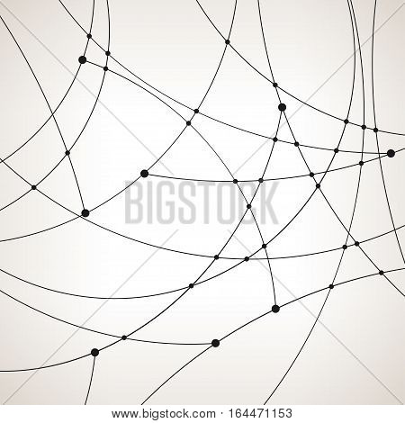 Abstract geometric pattern of the curves, unfinished lines, nodes, abstract data type