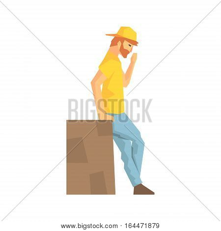 Worker Taking A Break Leaning Against Large Box, Delivery Company Employee Delivering Shipments Illustration. Part Of Manual Laborer Loading And Bringing Items Cartoon Characters Set.