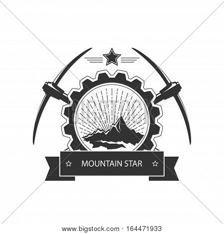 Vintage emblem of the mining industry, label and badge mine shaft ,mining