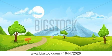 Cartoon illustration of the rural summer landscape with road and mountains