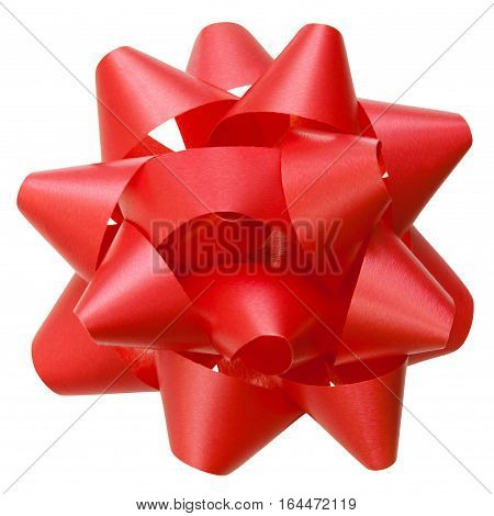 Red lush bow top view isolated over white clipping path