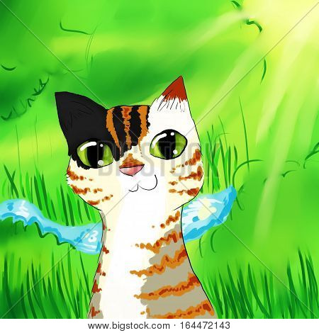 cartoon funny multicolored cat with green eyes in forest background