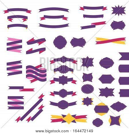 Flat retro ribbons and badges set vectro illustration