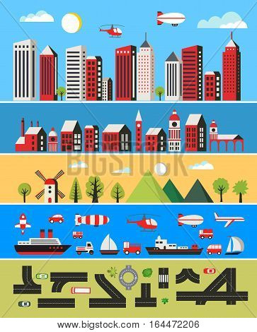 Illustration of a flat city with skyscrapers buildings vehicles trees and helicopter