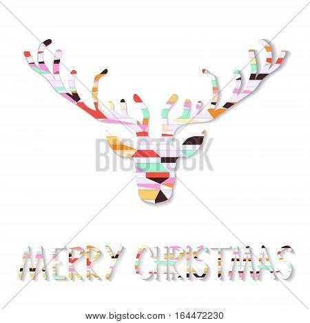 Reindeer Geometric Christmas Card retro vector illustration