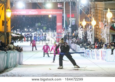 ZAGREB, CROATIA - JANUARY 4th, 2017 : Ski race of overall winners of the FIS World Cup on the ski slope in Bakaceva street, on the road from the cathedral to the main square. Technical staff on the ski slope.