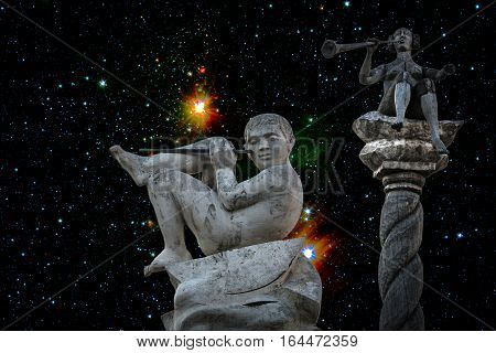 What astronauts after return from a space travel can see if people on the earth don't think again and won't destroy weapon. Sculptures from a park art Muzeon, the sky from pictures of NASA.