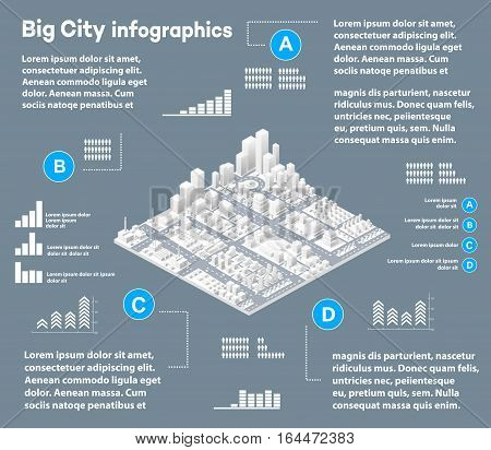 3D city isometric three-dimensional infographics including skyscrapers homes and stores with streets and trees in the area of the city with the business conceptual graphs and diagrams