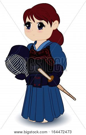 Female Kendoka cute chibi girl vector illustration
