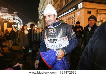 ZAGREB, CROATIA - JANUARY 4th, 2017 : Ski race of overall winners of the FIS World Cup on the ski slope in Bakaceva street, on the road from the cathedral to the main square. Alberto Tomba leaving the ski race.