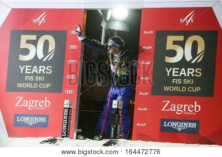ZAGREB, CROATIA - JANUARY 4th, 2017 : Ski race of overall winners of the FIS World Cup on the ski slope in Bakaceva street, on the road from the cathedral to the main square. Alberto Tomba at the start.