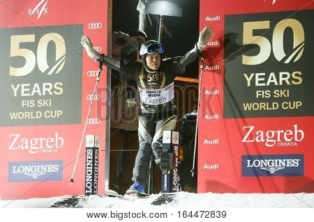ZAGREB, CROATIA - JANUARY 4th, 2017 : Ski race of overall winners of the FIS World Cup on the ski slope in Bakaceva street, on the road from the cathedral to the main square. Pernilla Wiberg at the start.