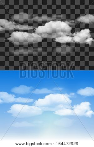 Blue sky with transparent different clouds. Vector background.