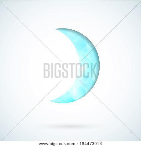 Blue moon symbol  geometric vector background template
