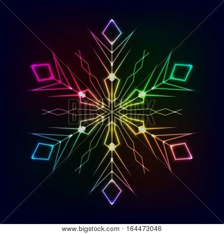 Shiny colorful snowflake design on dark background