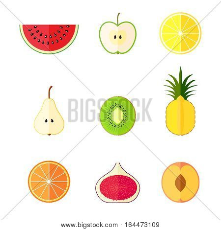 Flat tasty fresh fruits icons set. Vector illustration