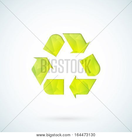 Green recycling symbol geometric ecology icon background
