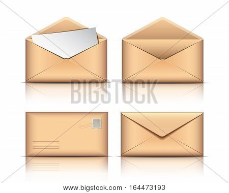 Set of Old envelopes with blank paper isolated on white background. Vector illustration