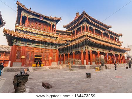 BEIJING, CHINA - DECEMBER 9, 2010: Main builings of the Yonghegong Lama temple complex in Beijing, China