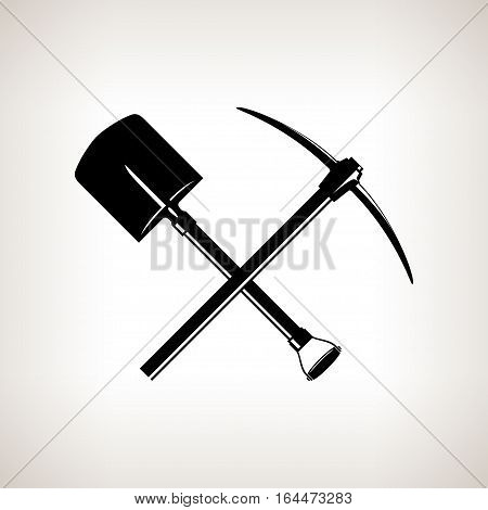Silhouette of a Crossed Shovel and Pickaxe on a Light Background,Hand Tool with a Hard Head, Attached Perpendicular to the Handle, a Tools for Excavation,Black and White Illustration