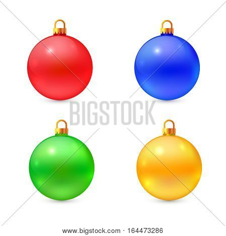 Set of isolated vector christmas balls in different colors